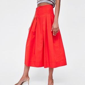 Zara Pleated Midi Skirt Contrasting Top Stitching